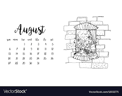calendar template month desk calendar template for month august royalty free vector