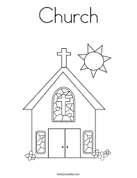 coloring page of a church