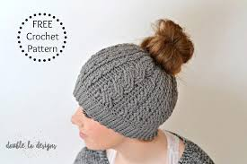 Free Crochet Pattern For Messy Bun Hat New Free Crochet Pattern Crochet Cabled Messy Bun Hat Adult Sizes