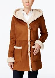 hooded faux shearling toggle coat jones new york