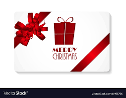 Gift Cards For Christmas Gift Card With Red Bow And Ribbon Merry Christmas