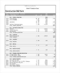 Construction Bid Template Construction Bids Templates