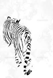 Tetsuya Toshima Tokyo Based Illustrator 後ろ姿の白黒の虎
