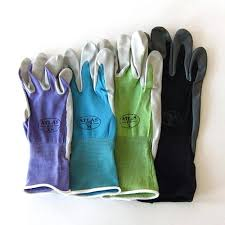 las leather gardening gloves above the seamless atlas gardening gloves with a breathable knit back available in four colors and in a range of sizes