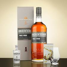 auchentoshan three wood with source water and glencairn whisky glass