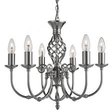 ornate lighting. Zanzibar Satin Silver 6 Light Fitting With Ornate Twisted Column Lighting I