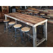 reclaimed wood munity bar restaurant table is well sanded and sealed grey stained wood legs and foot bar dimensions are approximate table
