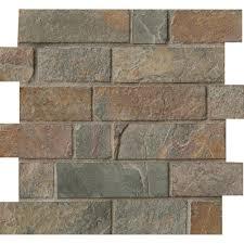 california gold brick 12 in x 12 in x 8 mm tumbled slate mesh
