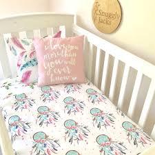 Dream Catcher Crib Set Pink and Aqua Dreamcatcher Cot Set 20