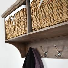 Hallway Furniture Coat Rack TETBURY Hallway Shelf With Coat Rack And Wicker Baskets Bench 45
