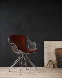 overgaard dyrman wire dining chair in burned steel finish and british racing red leather