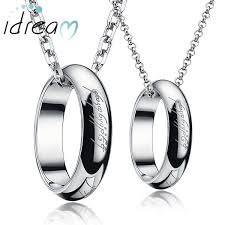 idream couple necklaces lord of the ring engraved circle pendants bands set silver gold hoop necklace in titanium steel matching jewelry for him and