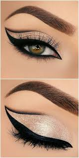 bold grapic cat eye outline half cut crease in black gold glitter makeup