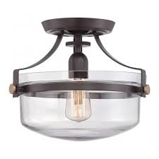 rustic ceiling lights. Vintage Industrial Semi Flush Ceiling Light In Bronze With Clear Glass Shade Rustic Lights