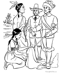 Small Picture Pilgrims Indians of Thanksgiving coloring sheet RaisingOurKids