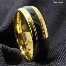 Details About 8mm Black Dome 18k Gold Tungsten Ring Wedding Band Bridal Atop Mens Jewelry