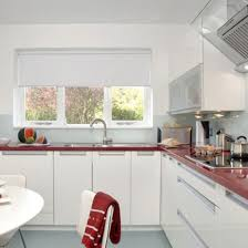 ... Red kitchen countertops, white decorating ideas and white kitchen  cabinets