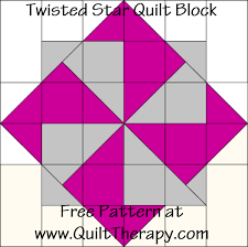 Quilt Therapy & Twisted Star Quilt Block Free Pattern at QuiltTherapy.com! Adamdwight.com