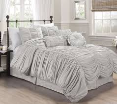chezmoi collection 7pcs shabby chic ruffle ruched duvet cover set queen gray