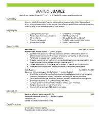 Resume Templates For Teachers Free Best Teacher Resume Example Livecareer Free Resume Templates For 1