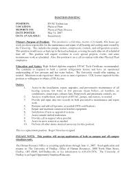 Useful Maintenance Technician Job Description Resume Also Awesome