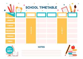 Timetable Template Gorgeous Fun Timetable Template Toner Giant