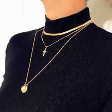 2019 bohemian cross choker necklace mom tree double chain long necklace pendant gold color medallion women trendy fashion jewelry from qiugaoliang