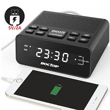 office radios. USB Alarm Clock Radio, Digital With Charger, FM Sleep Office Radios