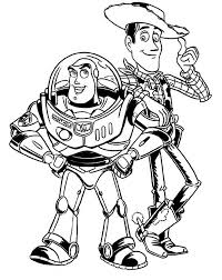 Small Picture Buzz Lightyear and Woddy in Toy Story Coloring Page Download