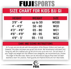 Fuji Size Charts