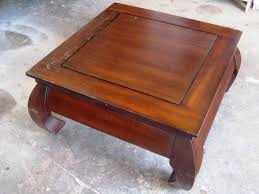 wood coffee table before