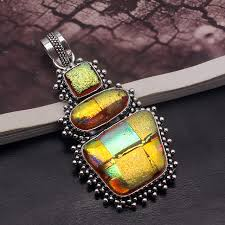 elegant cute natural dichroic glass pendant 925 sterling silver necklace pendant 2 5 8 inch