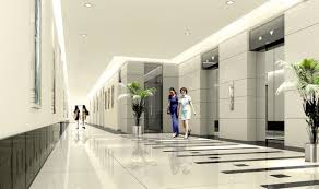 green eco office building interiors natural light. modern office interior design inside luxurious lift lobby with ceiling lighting and natural green plant eco building interiors light