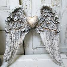 distressed white wood wall clock home decor angel wings mirror mirrored framed shabby cottage gray angel wings