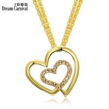 Drops Of Light Pendant Jewelry Dreamcarnival 1989 Light Gold Color Linking Hearts Pendant