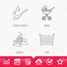 Pram Carriage Spoon And Drops Icons stock vector art 802333440 ...