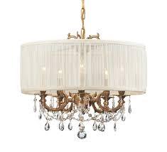 crystorama gramercy 5 light swarovski spectra crystal brass drum shade mini chandelier