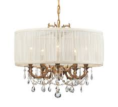 crystorama gramercy 5 light swarovski spectra crystal brass drum shade mini chandelier