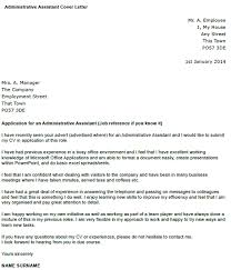 Administrative Assistant Cover Letter Example Icover Org Uk