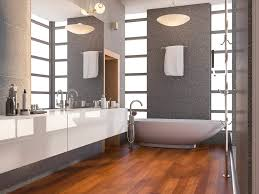 3d rendering wood modern bathroom with window and stone tile wall in summer
