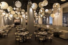 ball like chandelier over dining tables
