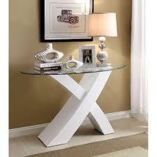 white sofa table. Modern Glass Top White Base Xtres Sofa Table H