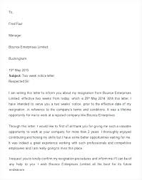 How To Write 2 Week Notice Resignation Examples How To Write 2 Weeks Notice Letter Week
