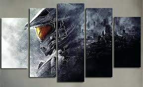5 piece wall art painting canvas prints posters halo guardians video game modular picture print mirror set on mirror wall art 5 piece set with 5 piece wall art painting canvas prints posters halo guardians video