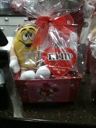 chocolate gifts m m s valentine gift basket with yellow m m s guy plushie and picture frame and candy