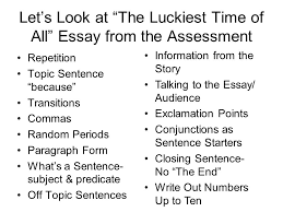 "my first summer"" essay let s look at ""the luckiest time of  2 let s"
