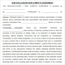 Non Compete Disclosure Agreements Template Non Compete Non ...