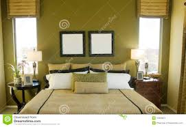 Helles Modernes Sauberes Grünes Schlafzimmer Stockbild Bild Von