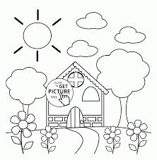 Coloring Pages Preschool House In Spring Coloring Page For Kids