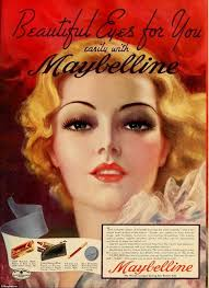 a beautiful makeup advert from the 1930s thick and full eyelashes became por thanks to s as such from max factor and maybelline